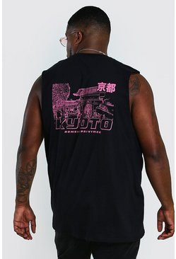 Black Big And Tall Kyoto Back Print Tank