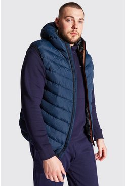 Navy Plus Size Quilted Zip Gilet With Hood