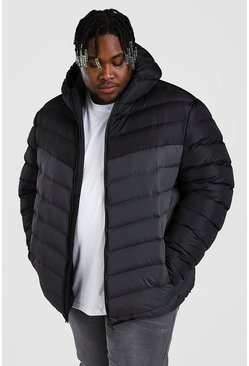 Grey Big And Tall Quilted Jacket With Colour Block