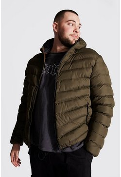 Khaki Big And Tall Quilted Zip Jacket With Hood