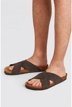 Brown Faux Nubuck Cross Over Sandal