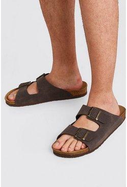 Brown Faux Nubuck Double Buckle Sandal