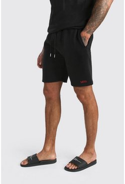 Black Original MAN Print Mid Length Jersey Shorts