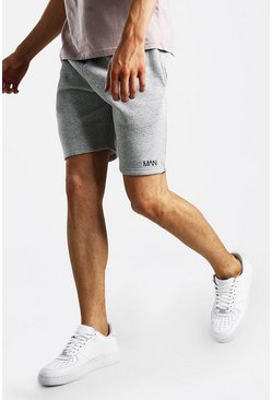 Grey marl Original MAN Print Mid Length Jersey Shorts