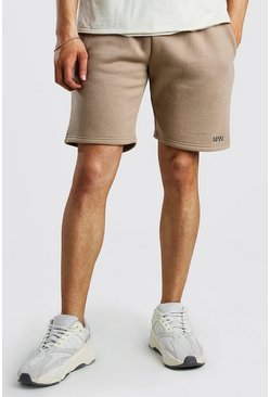 Taupe Original MAN Print Mid Length Jersey Shorts