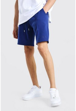 Navy MAN Signature Scuba Pintuck Shorts