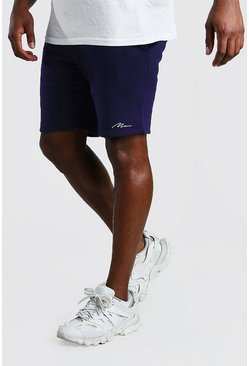 Navy MAN Signature Mid Length Jersey Shorts