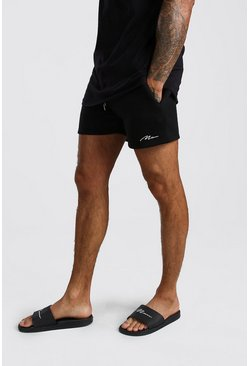 Short Man court en jersey signature, Noir