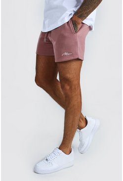 Short Man court en jersey signature, Mauve