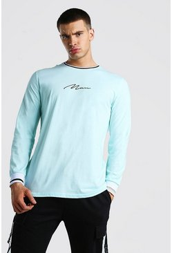Blue MAN Signature Long Sleeve T-Shirt With Sports Rib