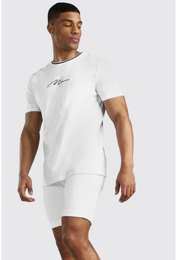 White MAN Signature T-Shirt With Sports Rib Cuff