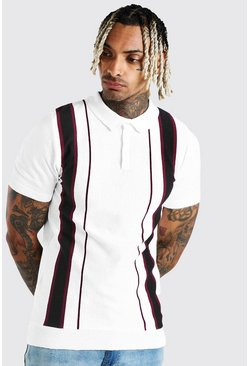Off white Muscle Fit Knitted Polo With Stripe Detail