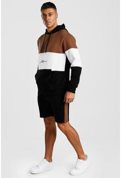 Tobacco MAN Signature Colour Block Short Hooded Tracksuit