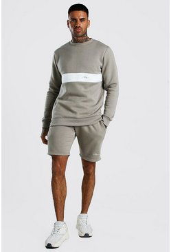Sage silver MAN Signature Colour Block Short Tracksuit