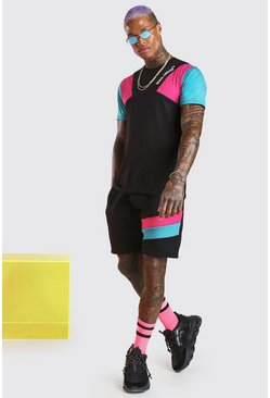 Black MAN Official Colour Block T-Shirt & Short Set