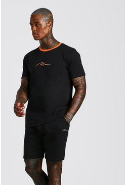 Orange MAN Signature Contrast Rib T-Shirt & Short Set