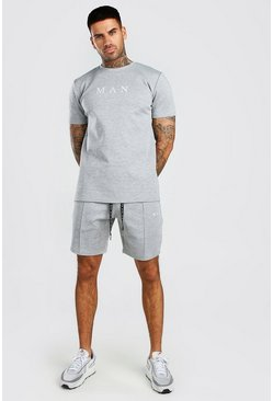 Ensemble short et t-shirt à fines rayures MAN Scuba, Gris