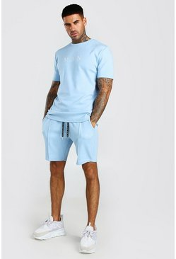 Ensemble short et t-shirt à fines rayures MAN Scuba, Dusty blue (bleu)