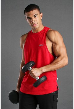 Red MAN Active Gym Racer Tank