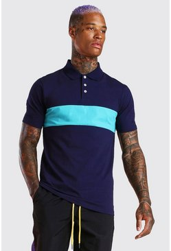 Navy Muscle Fit Colour Block Polo