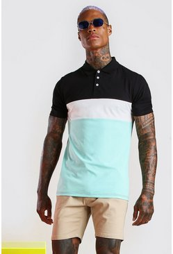 Black Muscle Fit Colour Block Polo