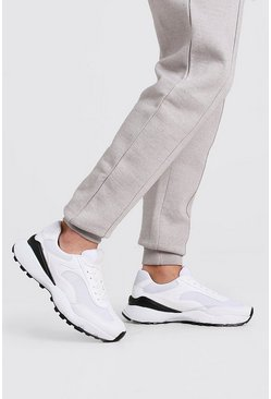 White Hiker Sole Panelled Sneaker