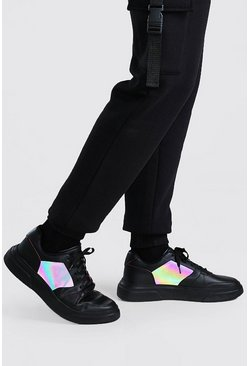 Black Reflective Panel Outsole Sneakers