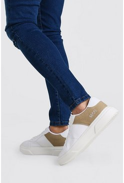 White Part Suedette Outsole Sneakers