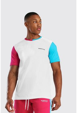 MAN Official T-Shirt mit Colorblock, Rosa