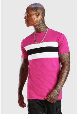 Pink Longline Muscle Fit Colour Block T-Shirt