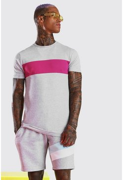 Grey Longline Muscle Fit Colour Block T-Shirt