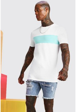 White Longline Muscle Fit Colour Block T-Shirt