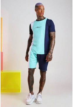 Mint MAN Signature Colour Block Short Set