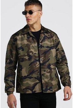 Khaki Camo Lightweight Zip Through Coach Jacket