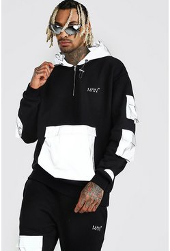 Black MAN Reflective Panel Hoodie