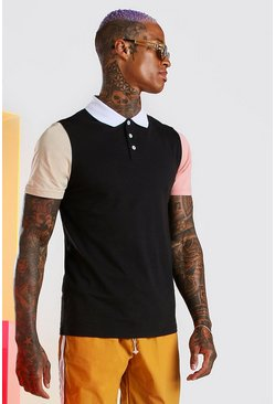 Black Colour Block Polo