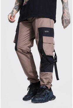 Brown Multi Panel Contrast Cargo Trouser