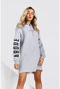Grey marl Abode Ladies Hoodie Dress