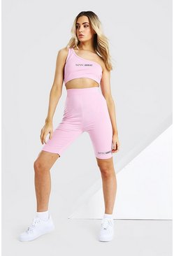 Pink Abode Ladies Crop And Cycling Short Set