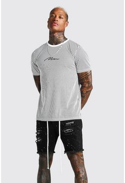 White MAN Signature Vertical Stripe T-Shirt