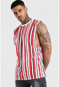 Red Vertical Stripe Print Drop Armhole Tank