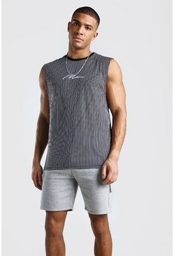 Black MAN Signature Vertical Stripe Drop Armhole Tank