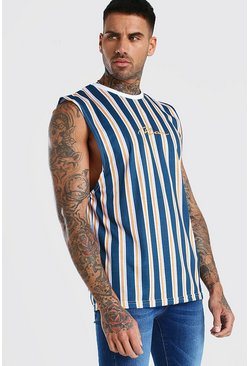 Navy MAN Signature Vertical Stripe Drop Armhole Tank