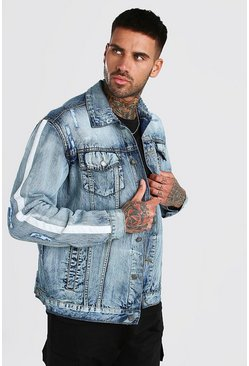 Jeansjacke in Destroyed-Optik mit Tape, Mittelblau