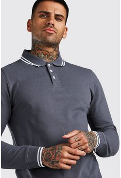 Charcoal Long Sleeve Tipped Pique Polo