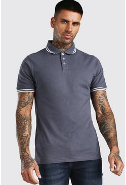 Charcoal Tipped Pique Polo