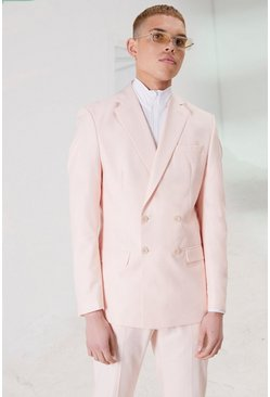 Light pink Skinny Plain Double Breasted Suit Jacket