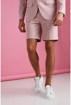 Dusky pink Skinny Plain Tailored Suit Shorts