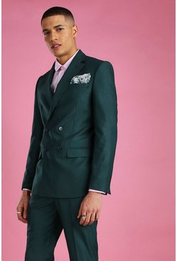Green Skinny Plain Double Breasted Suit Jacket