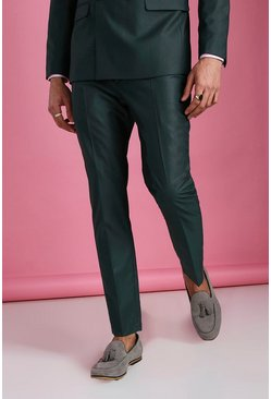 Green Skinny Plain Suit Pants